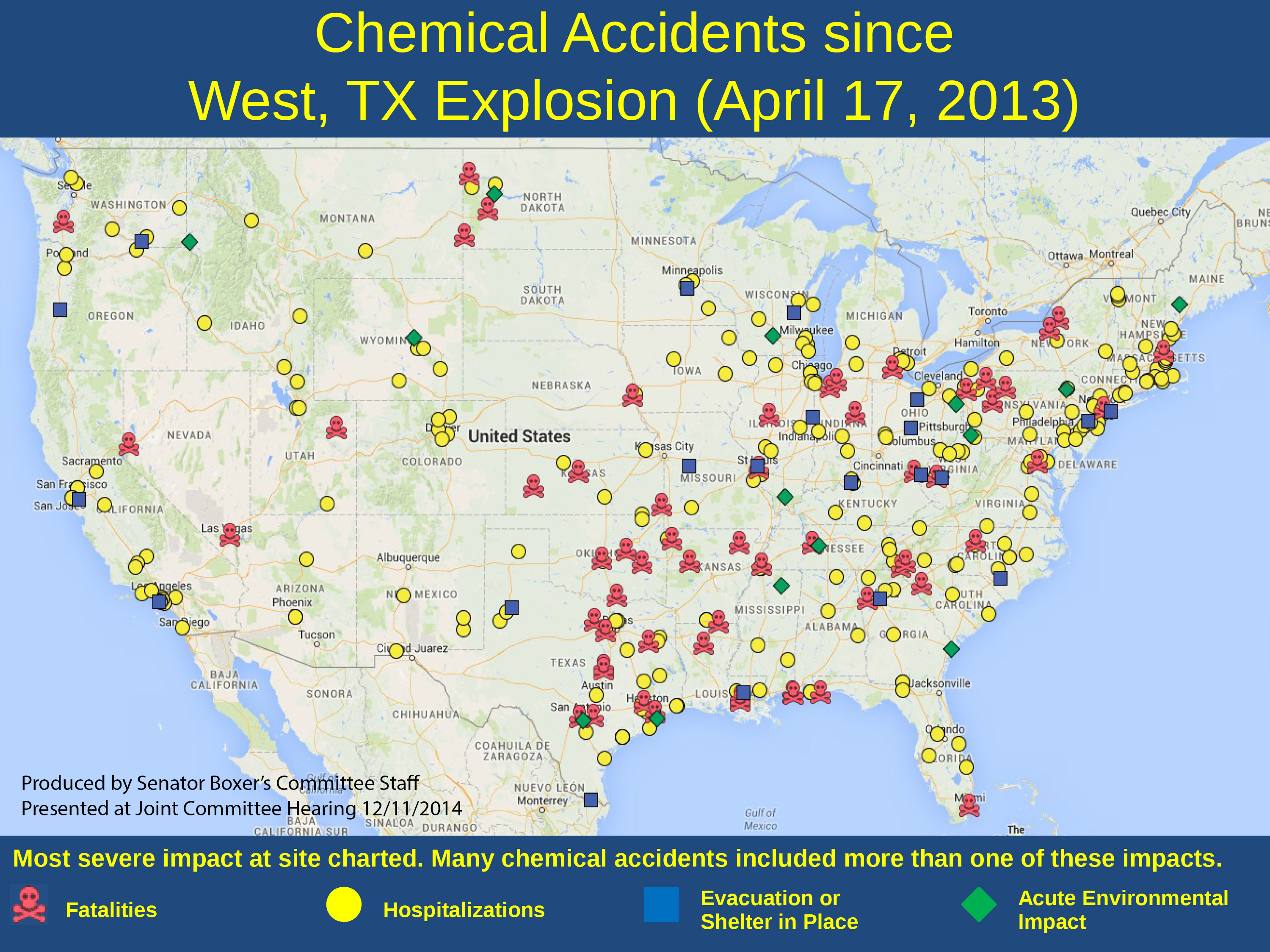 Chemical Accidents in  US post West, TX Explosion